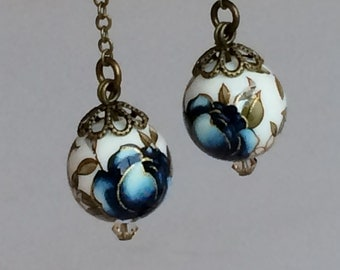 Blue Flower Tensha Beads Victorian Rustic Bronze Earrings, Rustic Wedding Bridesmaids Gift E57