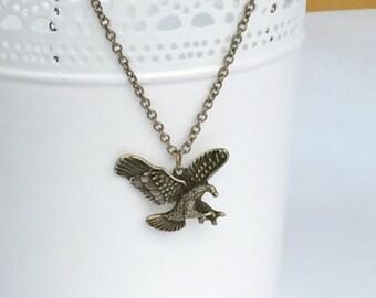 Antique Bronze Eagle Hawk Rustic Necklace N98