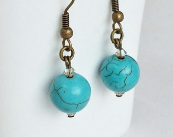 Turquoise Beads Antique Bronze Earrings, Rustic Antique Bronze Earrings E75