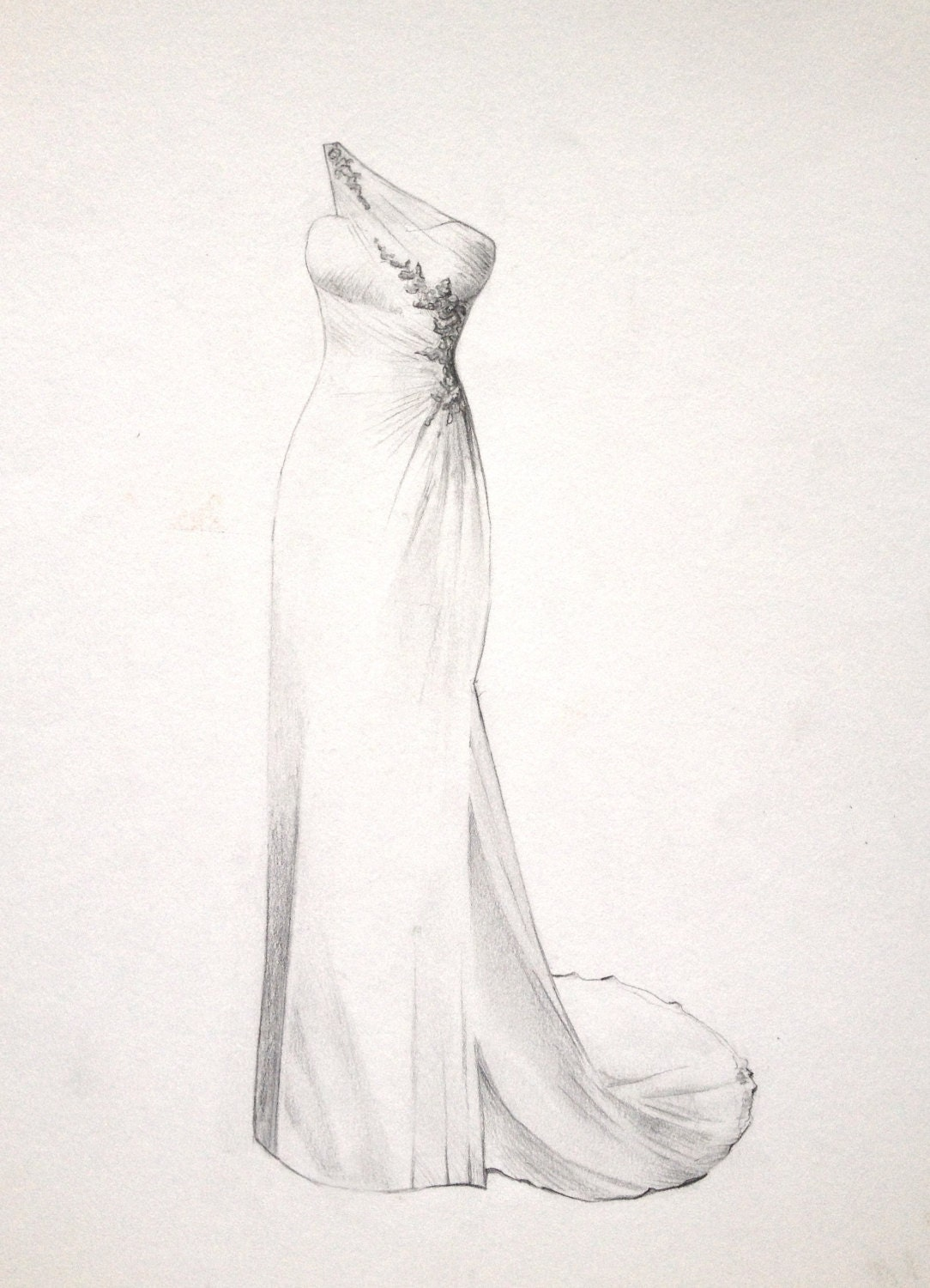 The perfect dress drawing for a bride wedding or by for How to draw a wedding dress