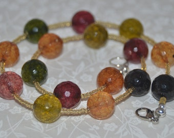 SALE! Multicolored Tourmaline Quartz Necklace and Earring Set  (NE125)