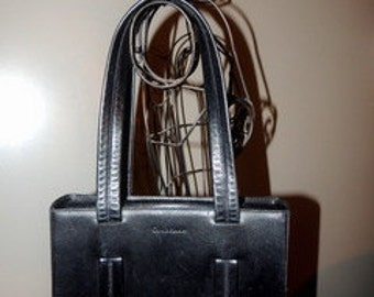 P00004 Rich Black Cole Haan Double Strap Double Stitching Saddle Leather Satchel\ Shoulder Bag PurseTorrolani-by God Oddities Decor on Etsy