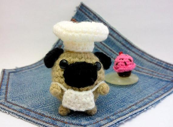 Amigurumi Mini Hat : Amigurumi miniature Pug, crochet Chef Pug + mini Cupcake ...