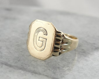 Antique Signet Ring with Engraved 'G' - A5Y00Q-D