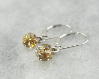 Gorgeous Golden Zircon and Fine White Gold Earrings HQA4ZK