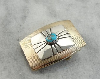 One of a Kind Belt Buckle from Vintage Turquoise, Silver and Retro Era Gold Fill Pieces QNKQ4P-D