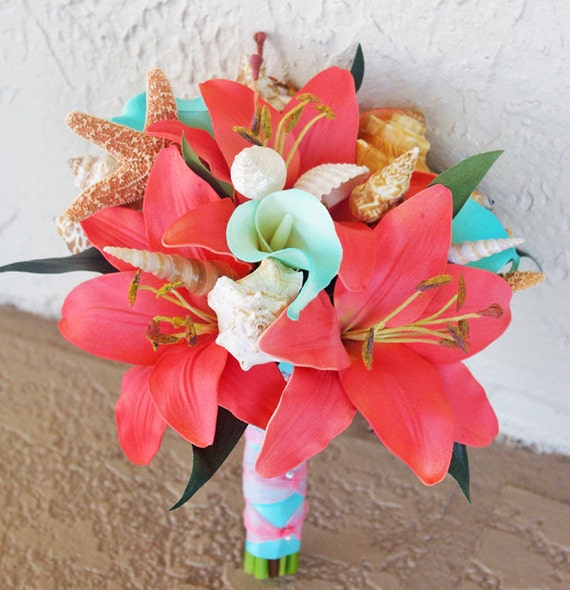Wedding Bouquet Coral Cream Real Touch Calla Lily Silk Rose: Silk Wedding Bouquet Natural Touch Roses Coral By Wedideas
