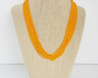 Tangerine necklace, light orange necklace, bridesmaid mandarin jewelry, light orange, carrot jewelry,seed beads necklace, orange jewelry