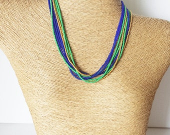 Blue and green necklace, gold and green necklace, gold and blue necklace, multicolor necklace,beaded necklace,seed bead necklace,bridesmaid