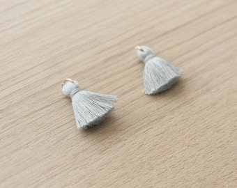 2 pcs of Grey Mini Tassels DIY Craft Supplies Jewelry tassels Chunky tassel Short Boho tassels Small tassels Fringe Trim  - 20 mm