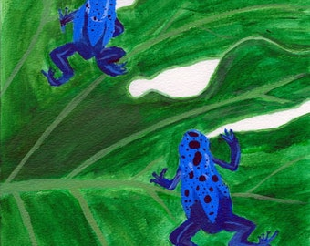 Blue Poison Dart Frog Note Cards - 6 Pack