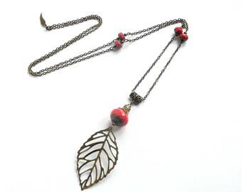 Long pendant necklace, bronze jewelry, long leaf pendant, red beaded necklace, french jewelry