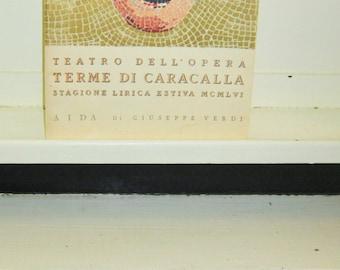 1956,  Libretto,Aida, Verdi, Teatro Dell' Opera, Terme Di Caracalla. Stagione Lirica Estiva MCMLVI