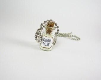 Moon Dust 1ml Glass Bottle Necklace Charm - Glass Cork Bottle Pendant - Glowing Glow in the Dark Moondust