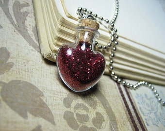 Red Heart Glass Bottle Necklace Charm - Red Heart Vial Pendant - Fairy Tale Red Bloody Heart