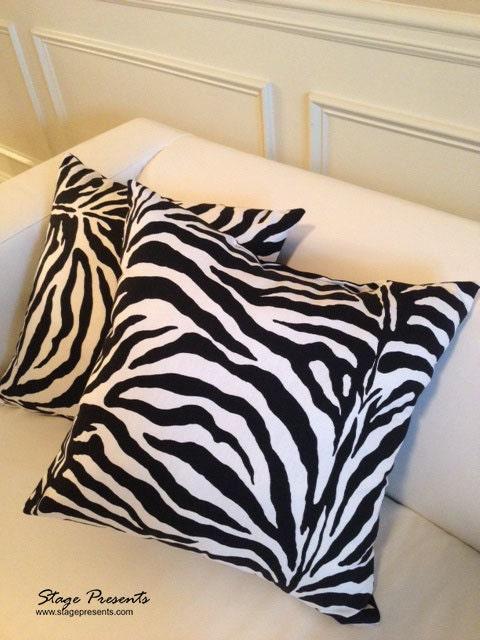 Zebra Print Decorative Pillow : Black and White Zebra Print Decorative Throw Pillows 15X15