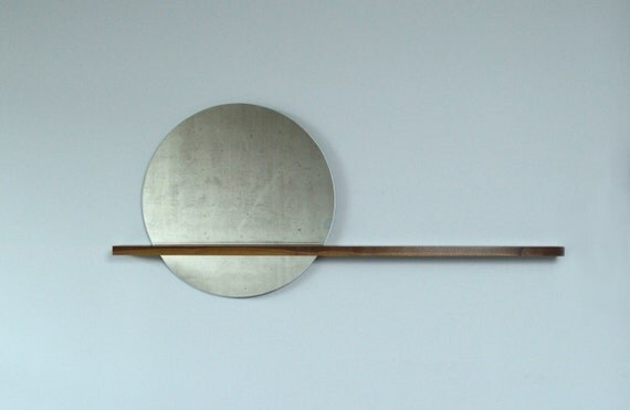 """Rise/Set Mirror, 24"""" round mirror and solid wood shelf, Mirror on LEFT Side"""