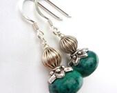 Handmade teal chrysocolla and silver earrings