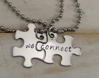 Couples Necklaces, Puzzle Piece Necklace, His and Hers, Best Friends