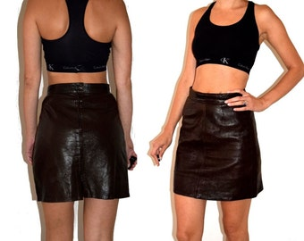 Vintage 90's Brown Leather High Waisted Mini Skirt