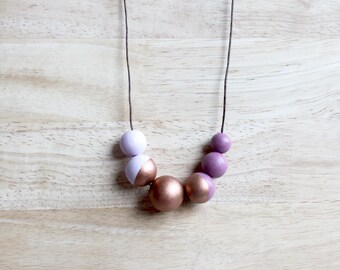 handpainted wooden geometric necklace // simple lilac, bronze dipped necklace - minimalist and eco-friendly everyday jewelry