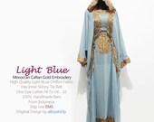 New Moroccan Hoodie Kaftan Baby Blue Chiffon FULL Gold Embroidery Dubai Abaya Maxi Dress farasha Hijab Kaftan Style Jalabiya - For Women