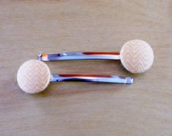Orange and White Chevron Button Bobby Pins