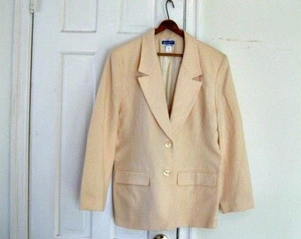 1970s Cream Wool Vintage Jacket, size large 10 12 white jacket, wool jacket, vintage clothing for women, coat for women