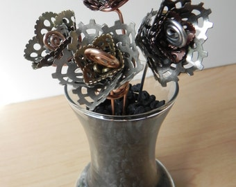 Steampunk Rose, Handmade Metal Flower, Forever Rose