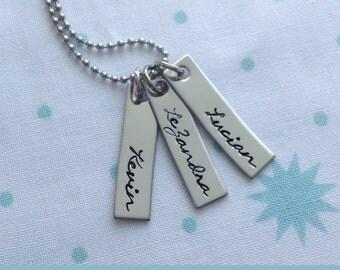Custom Motherhood Name Bar Necklace / Hand Stamped Necklace