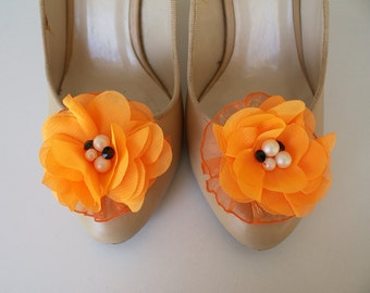 Orange Shoe Clips with handmade flowers