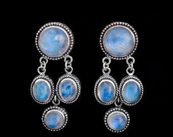 Rainbow Moonstone Dangling Post Earrings: OPHELIA POSTS