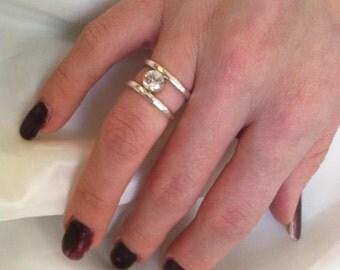 Sterling Silver CZ Ring - Hammered - Gemstone - Valentine