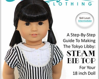 Pixie Faire Liberty Jane Steam Bib Top Doll Clothes Pattern for 18 inch American Girl Dolls - PDF