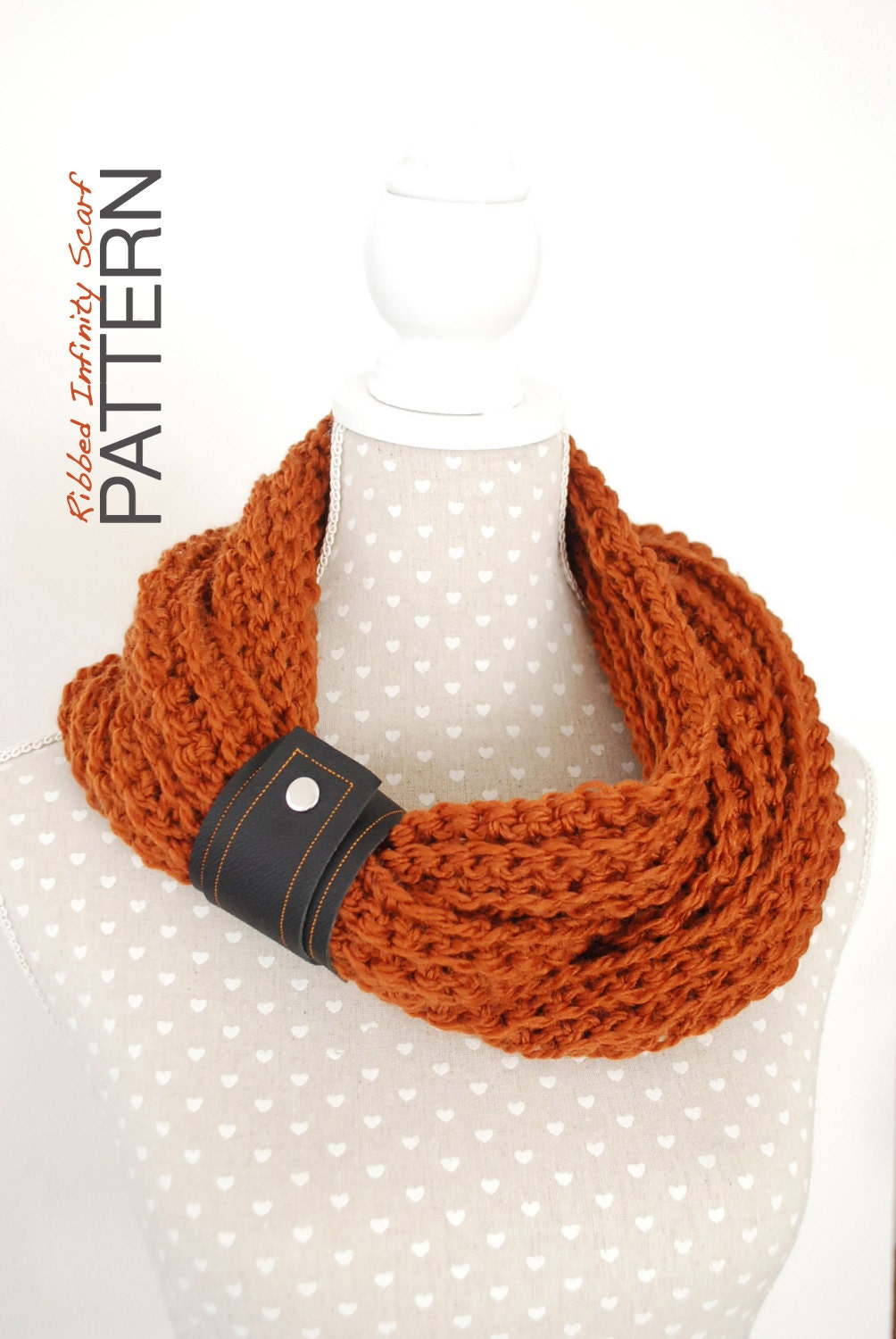 Crochet PATTERN : Chunky Ribbed Infinity Scarf Instant