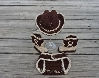 Newborn Baby Crochet Cowboy Hat Boots Photo Prop Set Outfit 0-3 Months Shower Gift
