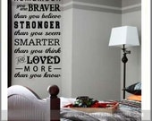 Always remember you are braver than you believe, Winnie the Pooh, Nursery Vinyl Wall Decal, Teen Wall Decals