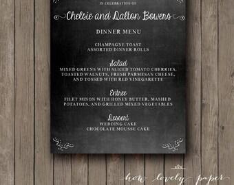 Printable Wedding Chalkboard Menu - the Emma Collection