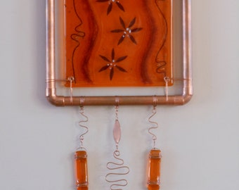 Orange Blossoms - Fused Glass Wall Hanging