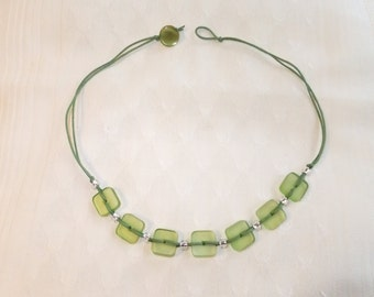 green acrylic squares necklace