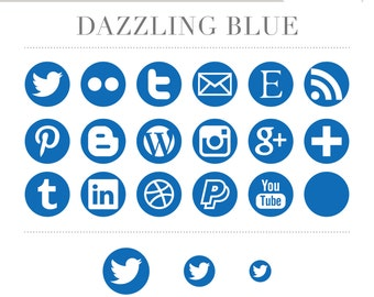 Social Media Icons - Simple Circles - Dazzling Dark Blue - Instant Download