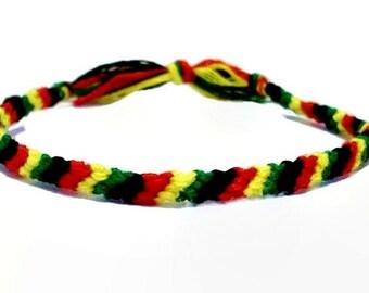 Thin Rasta Themed Candy Stripe Pattern Embroidery Friendship Bracelet
