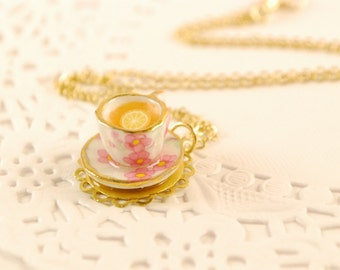tea time necklace, food jewelry,porcelain,gold