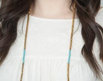 croakies - beaded sunglass chain - gold with teal - croakie, festival wear, eyeglass holder, festival, eyeglasses chain