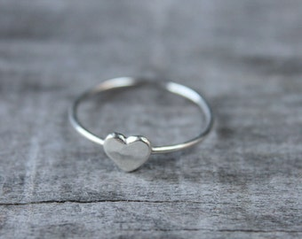 Recycled Sterling Silver Stacking Heart Ring, Stackable Heart Ring, Tiny Silver Heart Love Ring