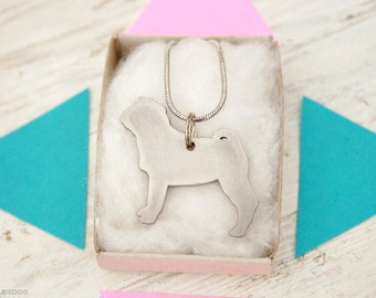 free shipping - Shar Pei Chinese Shar-Pei Charm Jewelry Stainless steel Pendant Necklace with chain and cord