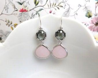 Blush Pink and Grey Bridesmaid Earrings Pink Wedding Pink Earrings Gray Grey Earring Silver Earrings Silver Bridal Jewelry Grey Wedding Gift