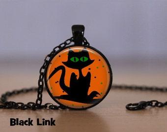 Halloween Cat Necklace Halloween Pendant Necklace or Halloween Keyring Halloween Jewelry Halloween Pendant Orange Black Green Eyes