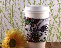 Fabric Coffee Cozy / Corduroy Purple Bird on Gray Coffee Cozy / Bird Coffee Cozy / Corduroy Coffee Cozy / Coffee Cozy / Tea Cozy