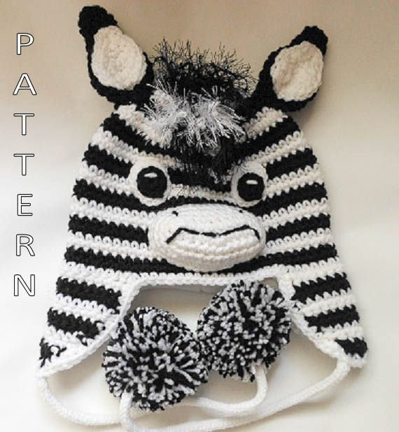 Knitting Pattern For Zebra Hat : Zebra Hat Crochet Pattern by WistfullyWoolen on Etsy